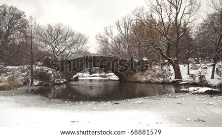 Winter snow in Central Park New York City at the Gapstow bridge