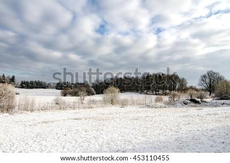 Winter Snow in Countryside European Farmland - stock photo