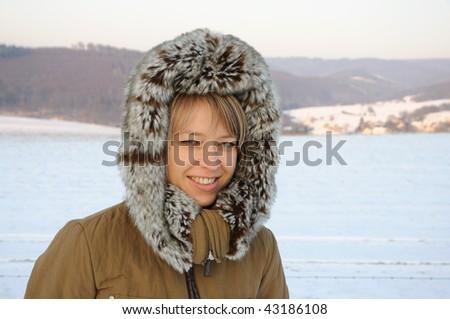 Winter snow model portrait - stock photo