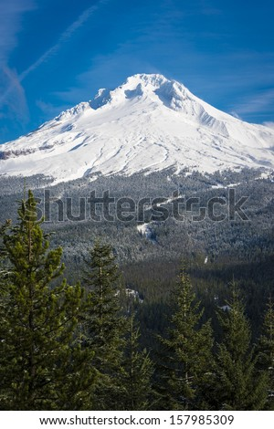 Winter snow on Mt. Hood and surrounding forest, Oregon - stock photo
