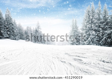 winter snow road place  - stock photo