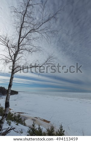 winter snow sea coast Baltic Sea Latvia Saulkrasti