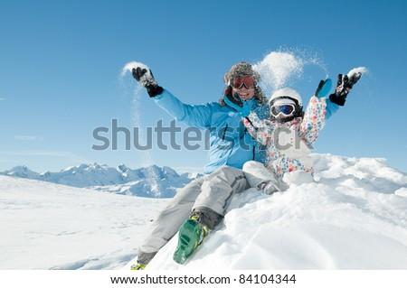 Winter, snow, ski, sun and fun - stock photo