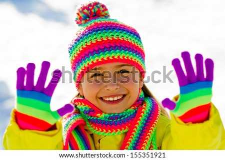 Winter, snow, winter fun - lovely girl enjoying winter - stock photo