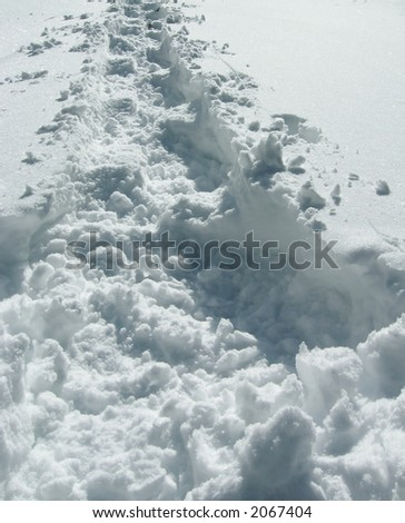 Winter snowcovered trail-way - stock photo
