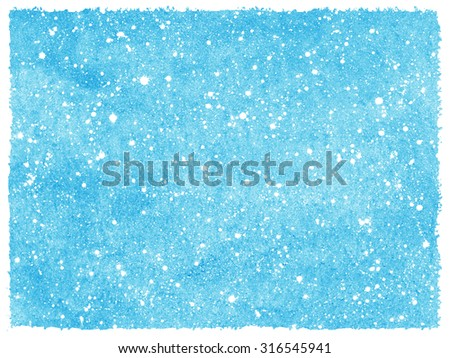 Winter snowfall hand drawn watercolor background. Blue sky with splash snow texture. Rough, artistic edges. Christmas, New Year template with snowflakes. - stock photo