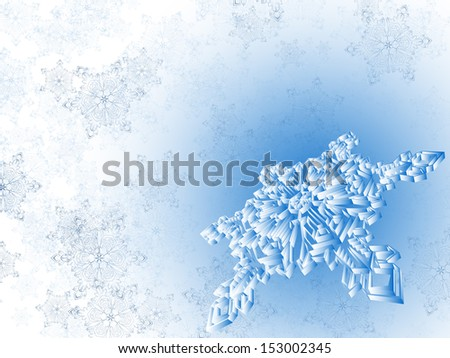 winter snowflake background, raster background - stock photo