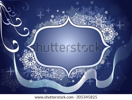 Winter snowflake blue frame with copy space.  - stock photo