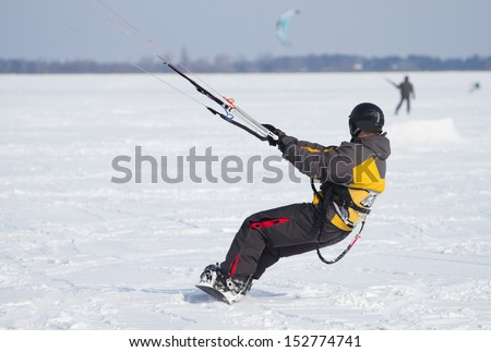 Winter Snowkiting - stock photo