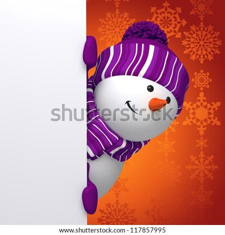 winter snowman banner - stock photo