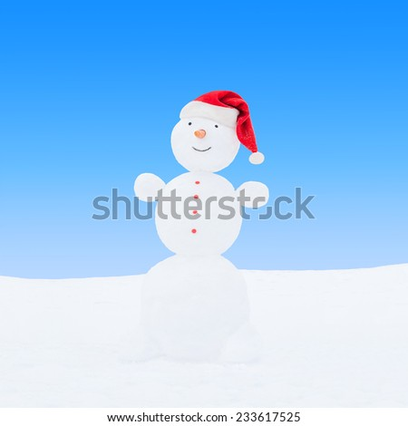 Winter snowman in santa hat on blue sky background - stock photo