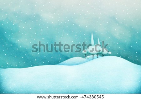 Winter snowy background for holiday greeting card or poster with  winter landscape