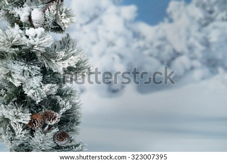 Winter snowy forest - stock photo