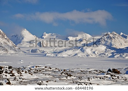 Winter snowy landscape, Greenland - stock photo