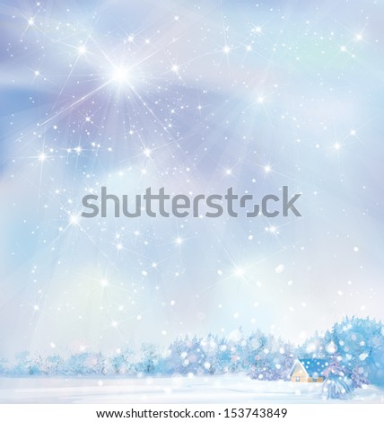 Winter snowy landscape with house in forest, illustration.  - stock photo