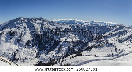 Winter snowy mountains panorama. Concept of untouched nature and clean environment. - stock photo