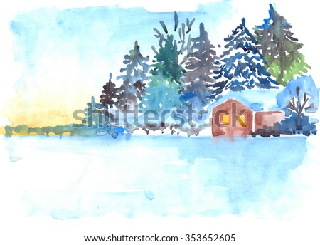 Winter snowy pine forest and house landscape - stock photo