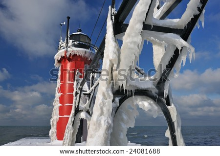 Winter, South Haven Lighthouse, Lake Michigan, Michigan, USA - stock photo