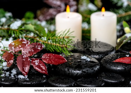 winter spa still life of evergreen branches, red leaves with drops, snow,  candles on zen basalt stones - stock photo