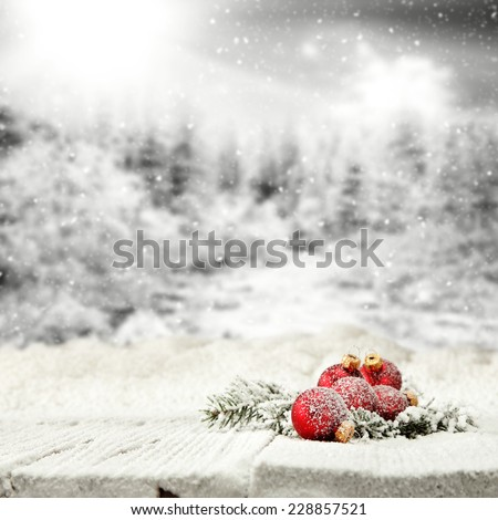 winter space and table of snow with balls  - stock photo