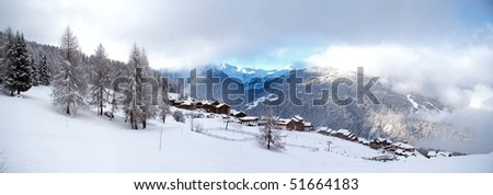 Winter sport vacation activity and sport in Apls, Europe - stock photo