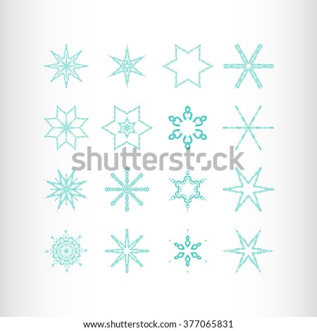 Winter stars and snowflakes for creation of New Year's artistic compositions, postcards, posters, backdrops. Set of 16 items. - stock photo