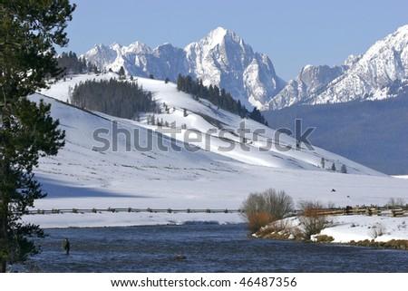 Winter Steelhead fishing in Idaho - stock photo