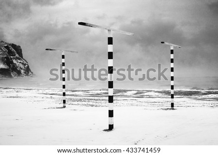 Winter storm at the sea. Black&white - stock photo