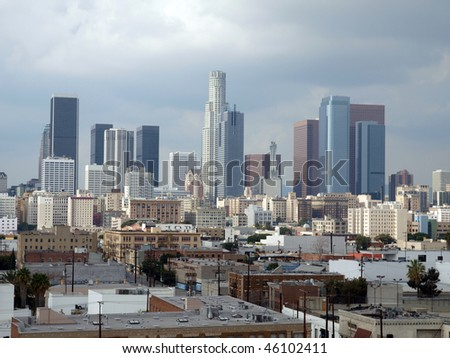 Winter storm clouds descend on downtown Los Angeles. - stock photo