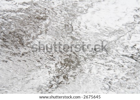Winter storm ice coating on a window