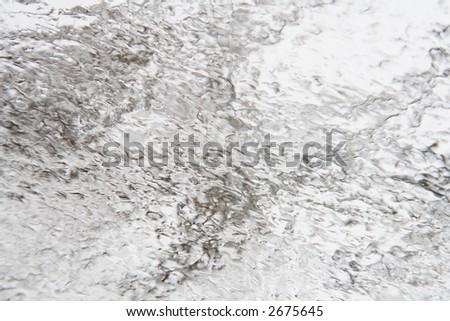 Winter storm ice coating on a window - stock photo