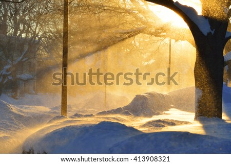 Winter storm in a sunny day - stock photo