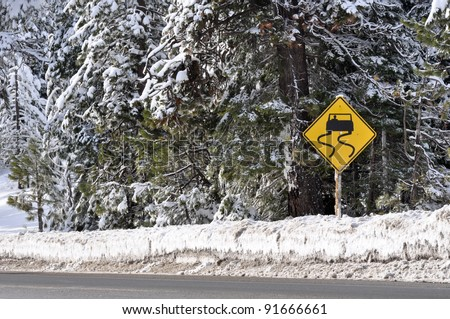 Winter Storm Warning Sign - stock photo