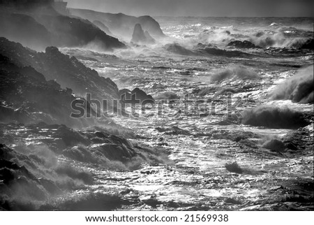 Winter storm waves off the rocky Pacific northwest coast of Oregon. - stock photo