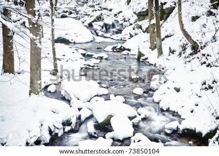 Winter Stream in a Forest of Austria - stock photo