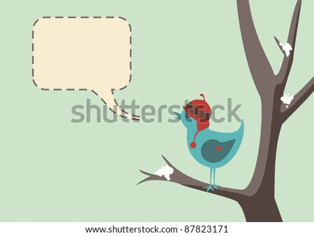 Winter style vector of a cute bird wearing a hat, sitting in tree with snow, complete with speech bubble - stock photo