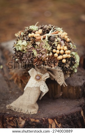 Winter stylish wedding bouquet - stock photo