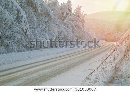 Winter sunny day on nature. Beautiful winter landscape - stock photo