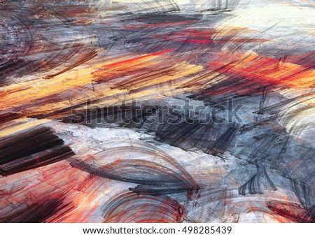 Winter sunny morning. Bright artistic splashes. Abstract painting color texture. Modern futuristic pattern. Multicolor dynamic background. Fractal artwork for creative graphic design