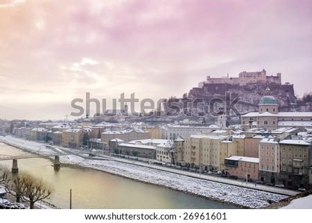Winter sunrise in Salzburg. View from Kapuzinerberg - stock photo