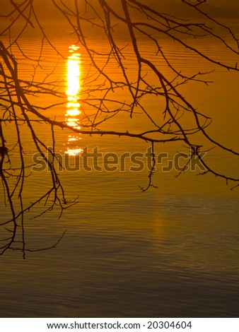 Winter sunset - stock photo