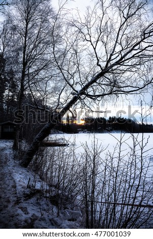 Winter sunset and lake