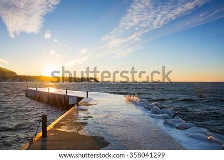 Winter sunset in Door County.  - stock photo