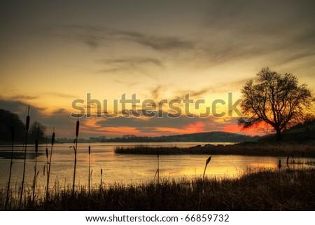 Winter sunset in Ireland - stock photo