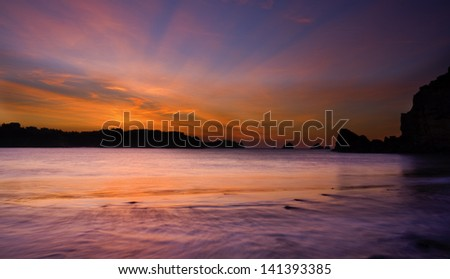 "Winter sunset in "" La Arnia"" beach.Bay of Biscay,Spain. - stock photo"