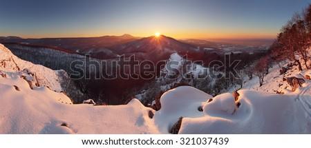 Winter sunset in mountain panorama - Slovakia - stock photo