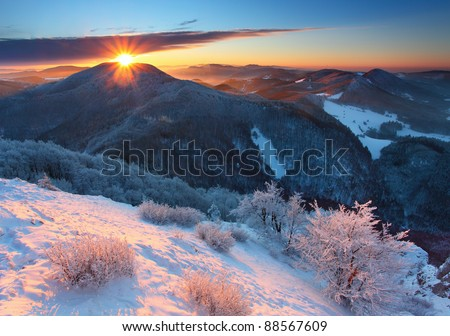 Winter sunset in mountain with cloud - Slovakia - stock photo