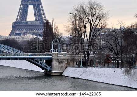 Winter sunset in Paris - stock photo