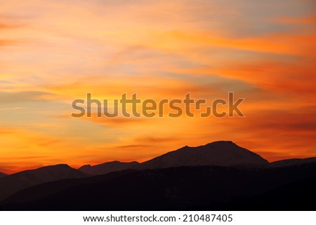Winter sunset in the north of Spain - stock photo