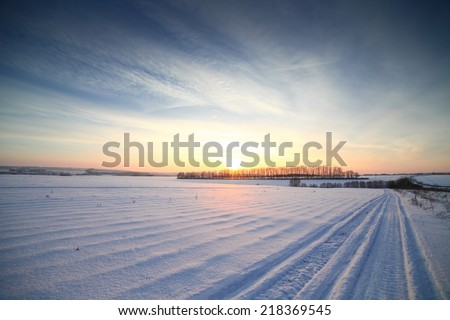 Winter sunset landscape panorama, very cold.  - stock photo